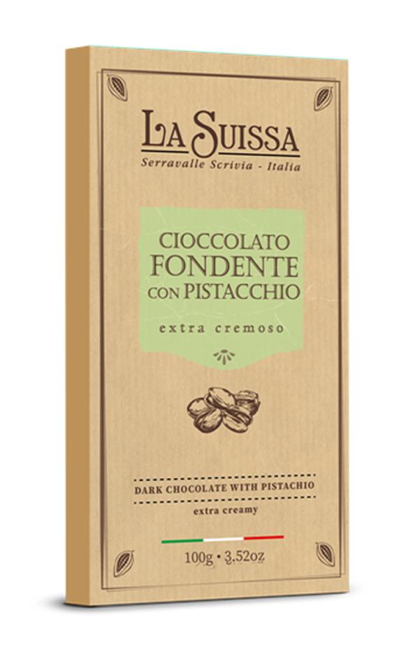 Темный шоколад 52% с фисташковым кремом 100г